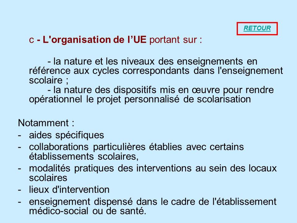 c - L'organisation de lUE portant sur : - la nature et les niveaux des enseignements en référence aux cycles correspondants dans l'enseignement scolai