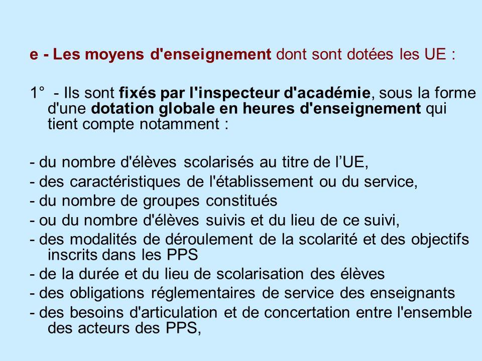e - Les moyens d'enseignement dont sont dotées les UE : 1° - Ils sont fixés par l'inspecteur d'académie, sous la forme d'une dotation globale en heure