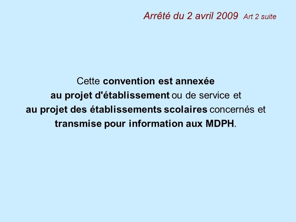 Cette convention est annexée au projet d'établissement ou de service et au projet des établissements scolaires concernés et transmise pour information