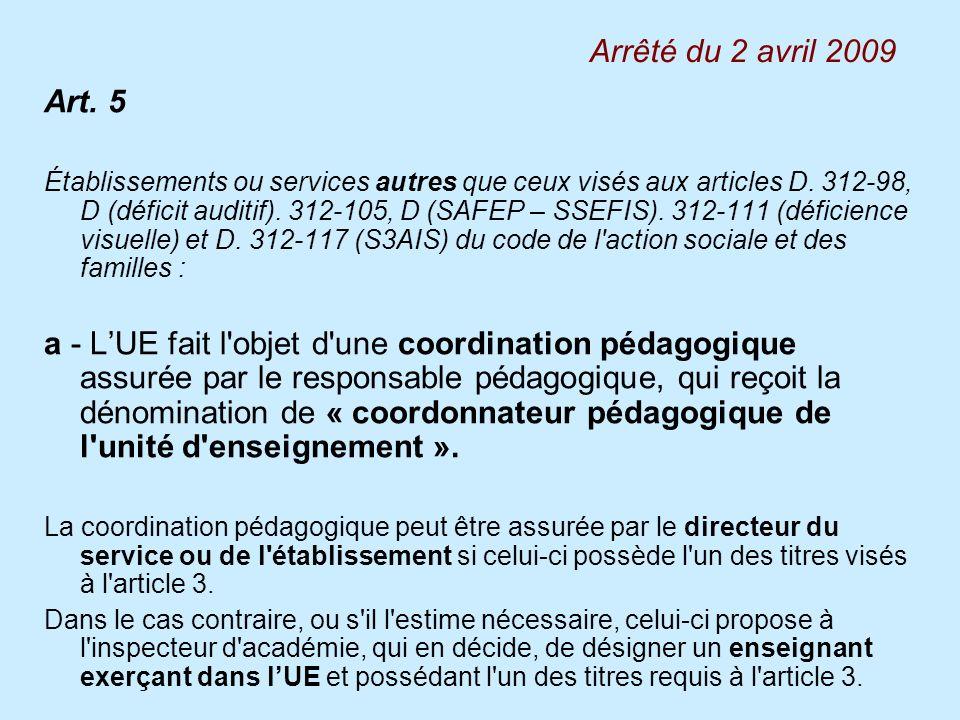 Art. 5 Établissements ou services autres que ceux visés aux articles D. 312-98, D (déficit auditif). 312-105, D (SAFEP – SSEFIS). 312-111 (déficience