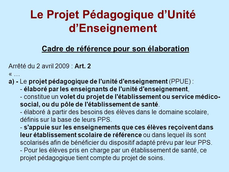 Le Projet Pédagogique dUnité dEnseignement Cadre de référence pour son élaboration Arrêté du 2 avril 2009 : Art. 2 « … a) - Le projet pédagogique de l