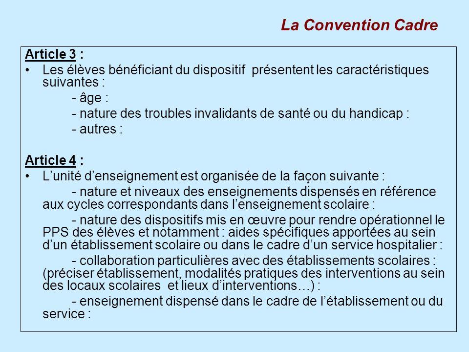 Article 3 : Les élèves bénéficiant du dispositif présentent les caractéristiques suivantes : - âge : - nature des troubles invalidants de santé ou du