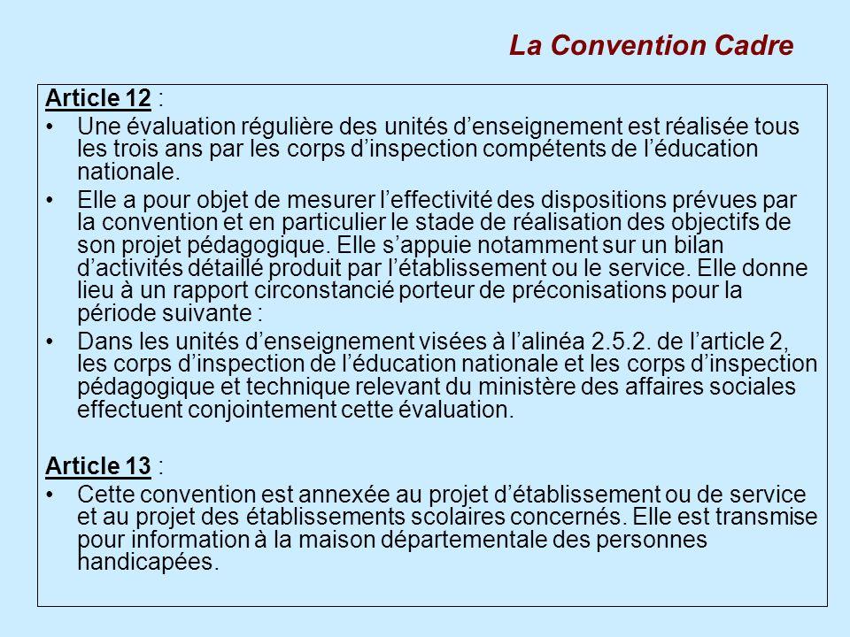 Article 12 : Une évaluation régulière des unités denseignement est réalisée tous les trois ans par les corps dinspection compétents de léducation nati