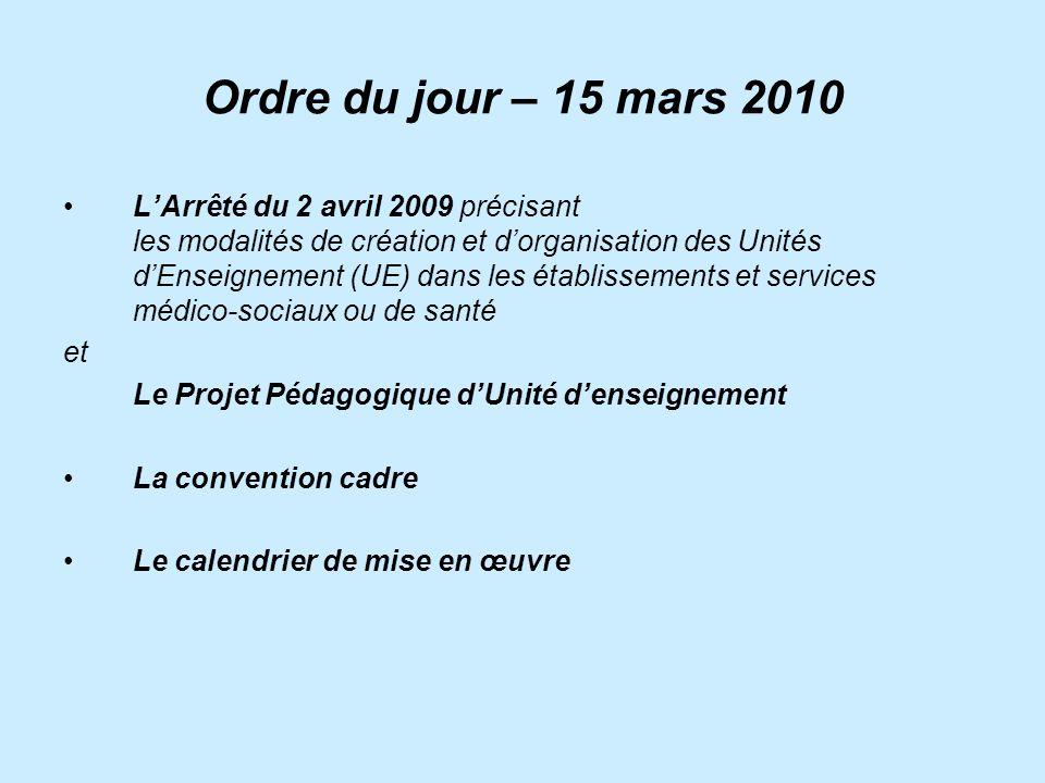 Ordre du jour – 15 mars 2010 LArrêté du 2 avril 2009 précisant les modalités de création et dorganisation des Unités dEnseignement (UE) dans les établ