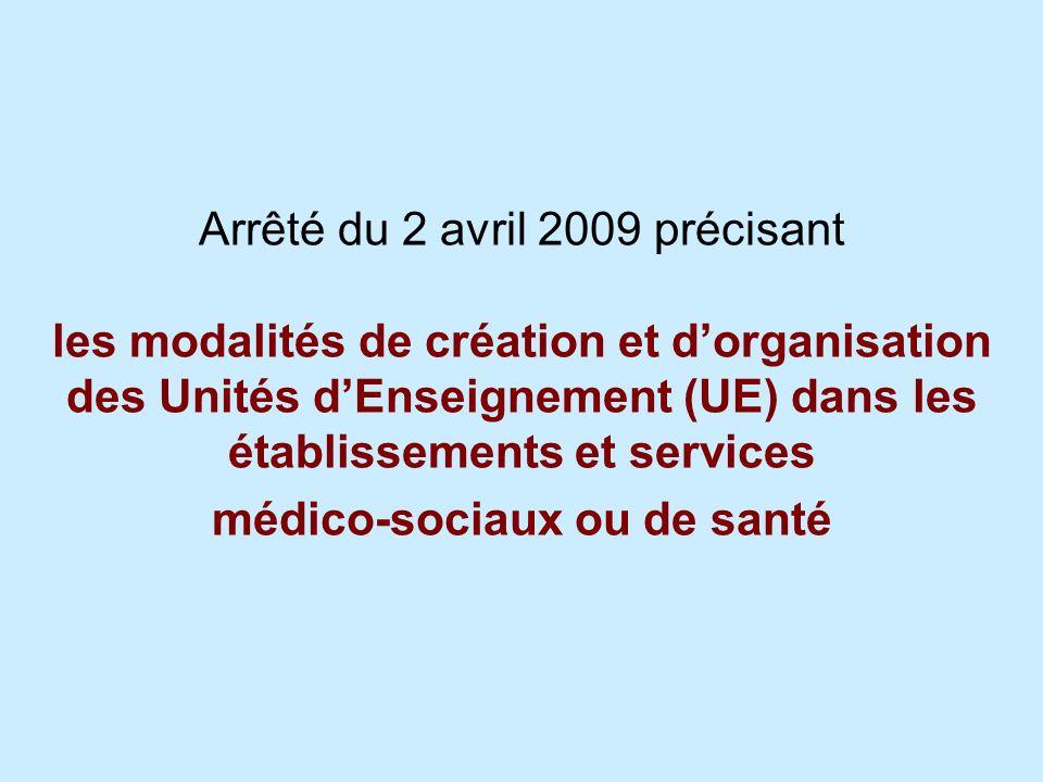 Arrêté du 2 avril 2009 précisant les modalités de création et dorganisation des Unités dEnseignement (UE) dans les établissements et services médico-s