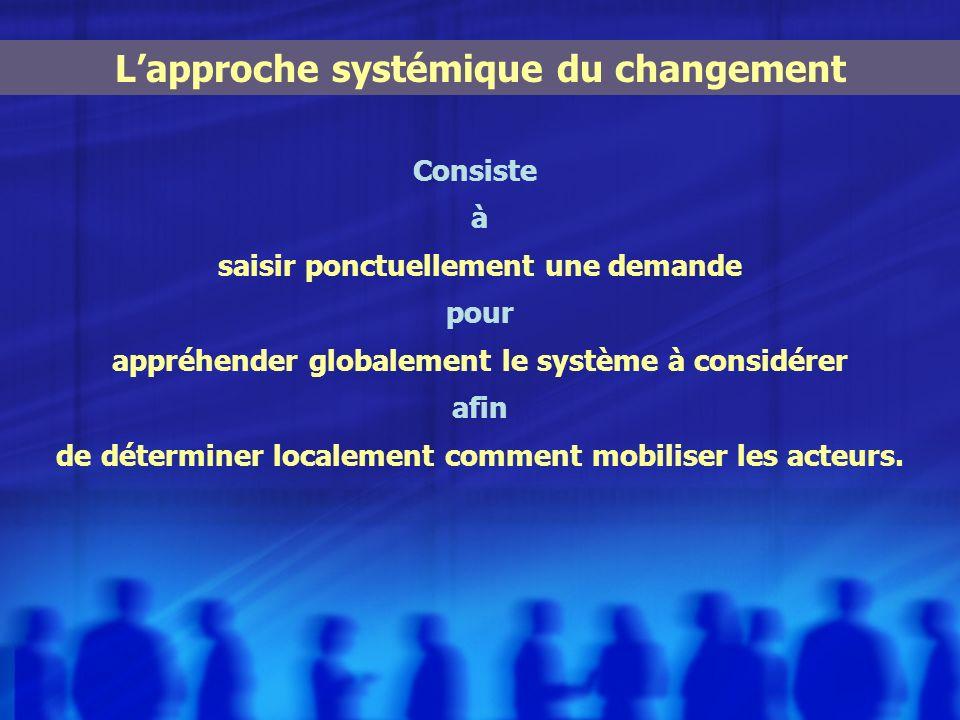 Consiste à saisir ponctuellement une demande pour appréhender globalement le système à considérer afin de déterminer localement comment mobiliser les