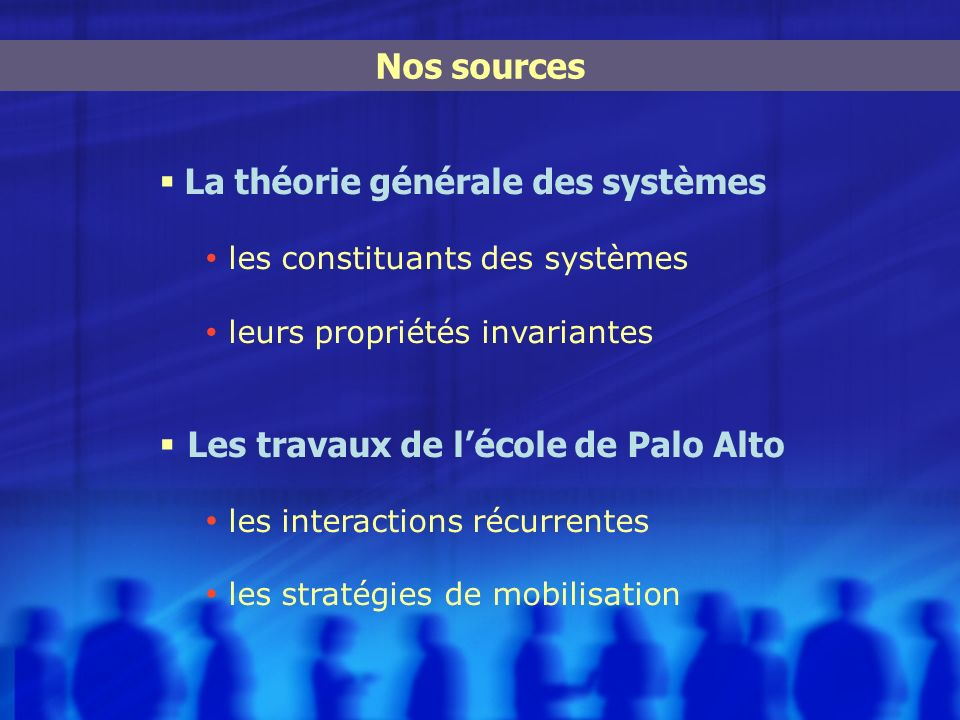 La théorie générale des systèmes les constituants des systèmes leurs propriétés invariantes Les travaux de lécole de Palo Alto les interactions récurr