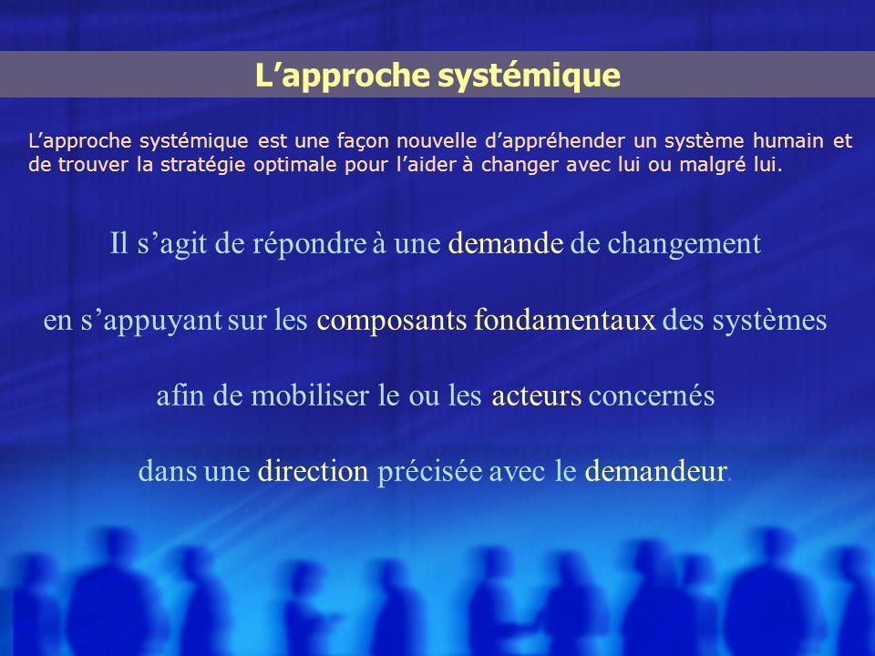 Il sagit de répondre à une demande de changement en sappuyant sur les composants fondamentaux des systèmes afin de mobiliser le ou les acteurs concern