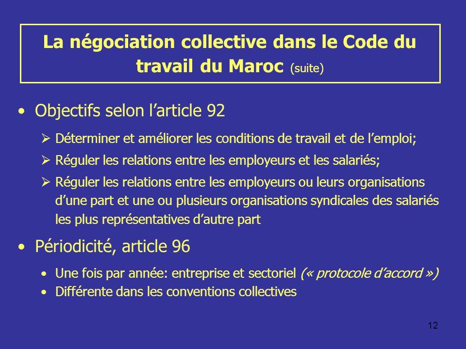 12 La négociation collective dans le Code du travail du Maroc (suite) Objectifs selon larticle 92 Déterminer et améliorer les conditions de travail et