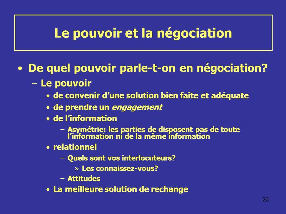 23 Le pouvoir et la négociation De quel pouvoir parle-t-on en négociation? –Le pouvoir de convenir dune solution bien faite et adéquate de prendre un