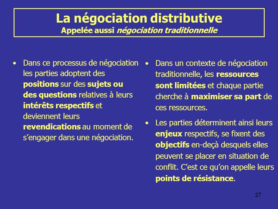 27 La négociation distributive Appelée aussi négociation traditionnelle Dans ce processus de négociation les parties adoptent des positions sur des su