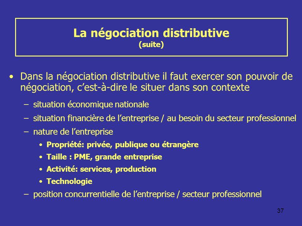 37 La négociation distributive (suite) Dans la négociation distributive il faut exercer son pouvoir de négociation, cest-à-dire le situer dans son con