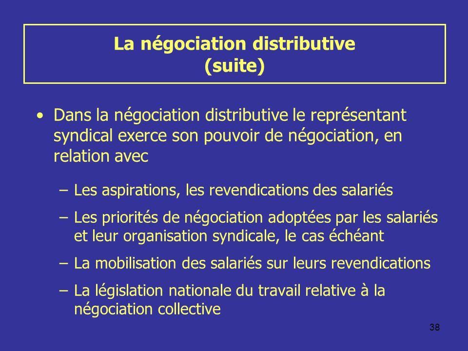 38 La négociation distributive (suite) Dans la négociation distributive le représentant syndical exerce son pouvoir de négociation, en relation avec –
