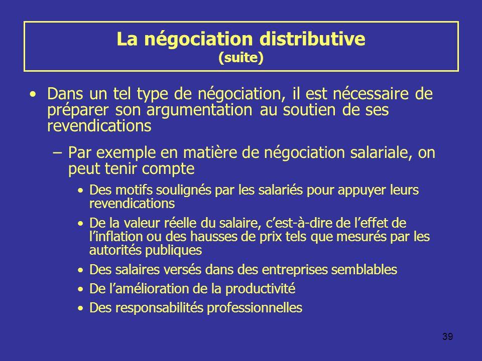 39 La négociation distributive (suite) Dans un tel type de négociation, il est nécessaire de préparer son argumentation au soutien de ses revendicatio