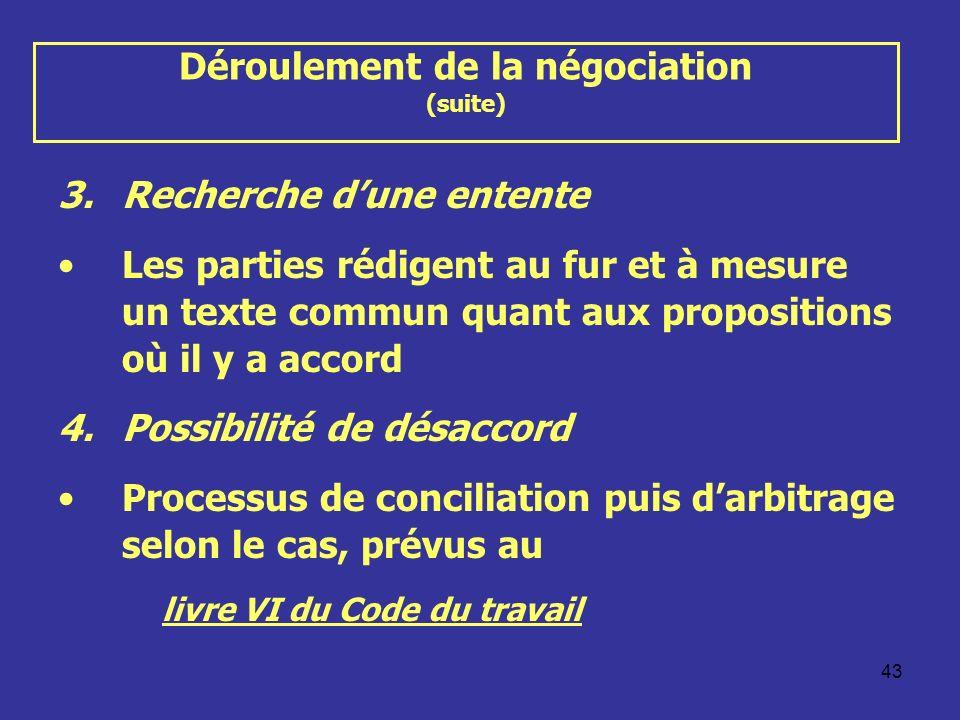 43 Déroulement de la négociation (suite) 3.Recherche dune entente Les parties rédigent au fur et à mesure un texte commun quant aux propositions où il