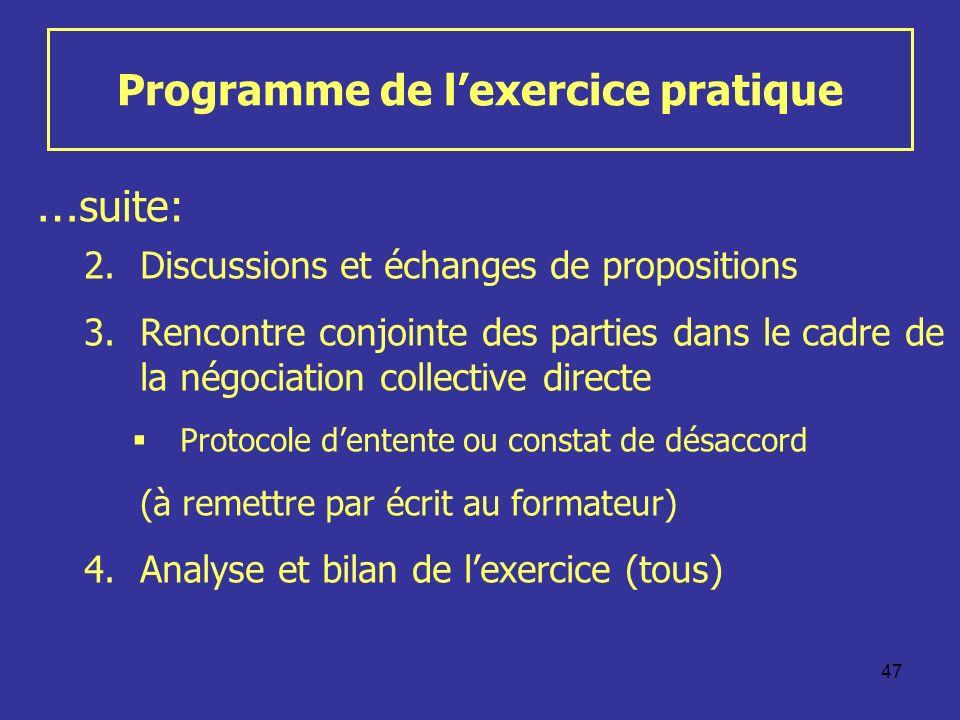 47 Programme de lexercice pratique … suite: 2.Discussions et échanges de propositions 3.Rencontre conjointe des parties dans le cadre de la négociatio