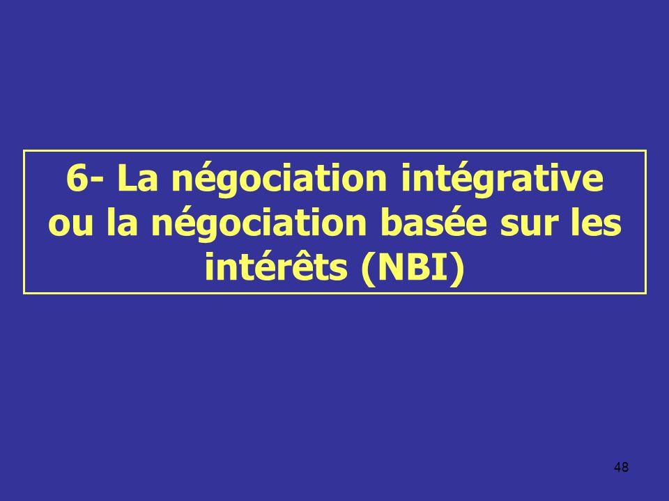 48 6- La négociation intégrative ou la négociation basée sur les intérêts (NBI)