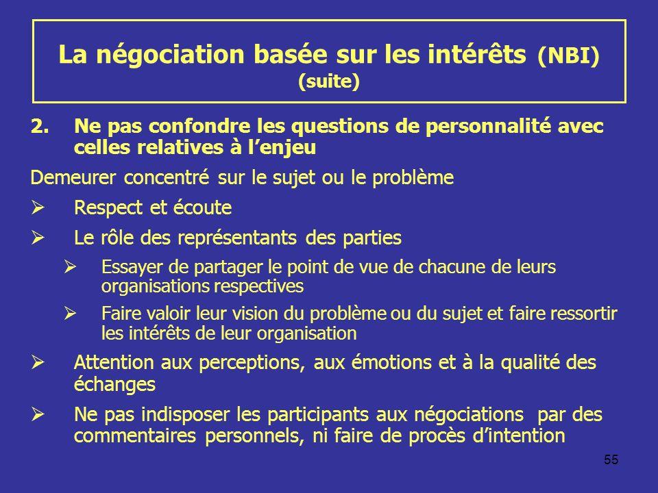 55 La négociation basée sur les intérêts (NBI) (suite) 2.Ne pas confondre les questions de personnalité avec celles relatives à lenjeu Demeurer concen