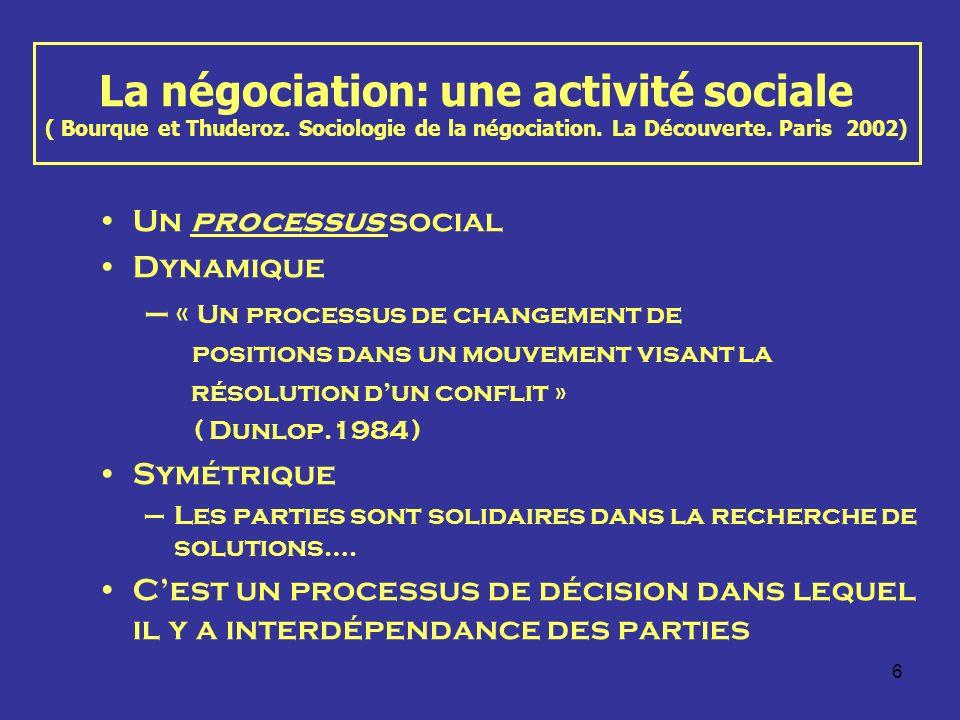 6 La négociation: une activité sociale ( Bourque et Thuderoz. Sociologie de la négociation. La Découverte. Paris 2002) Un processus social Dynamique –