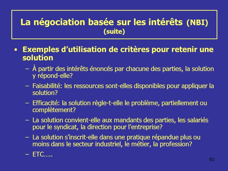 60 La négociation basée sur les intérêts (NBI) (suite) Exemples dutilisation de critères pour retenir une solution –À partir des intérêts énoncés par chacune des parties, la solution y répond-elle.