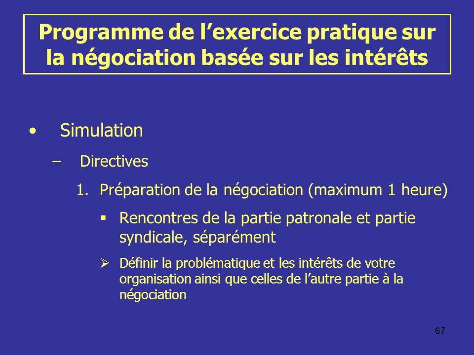 67 Programme de lexercice pratique sur la négociation basée sur les intérêts Simulation –Directives 1.Préparation de la négociation (maximum 1 heure)