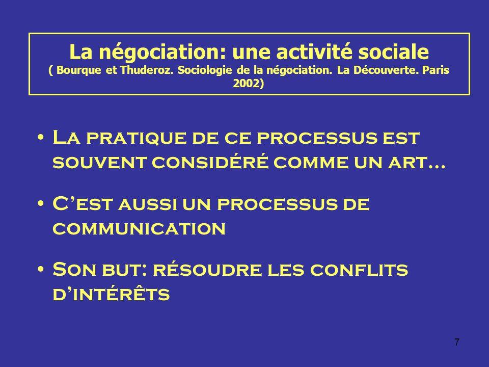 7 La négociation: une activité sociale ( Bourque et Thuderoz. Sociologie de la négociation. La Découverte. Paris 2002) La pratique de ce processus est