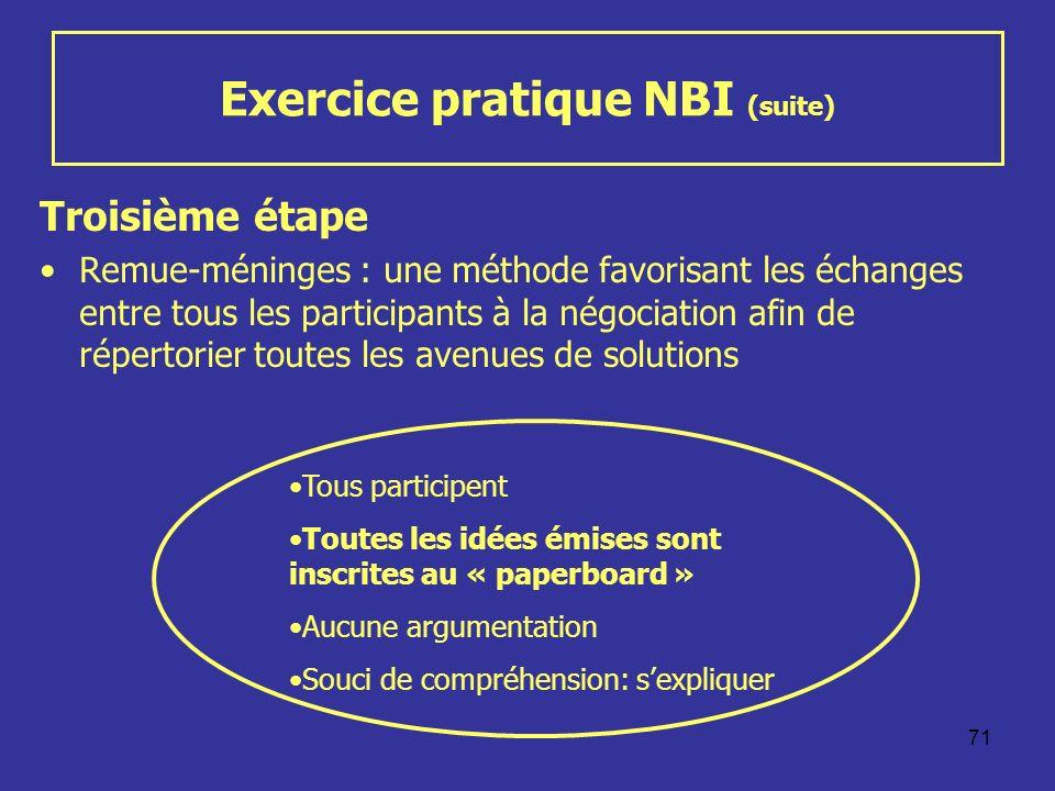 71 Exercice pratique NBI (suite) Troisième étape Remue-méninges : une méthode favorisant les échanges entre tous les participants à la négociation afi
