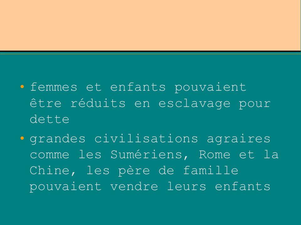 femmes et enfants pouvaient être réduits en esclavage pour dette grandes civilisations agraires comme les Sumériens, Rome et la Chine, les père de fam