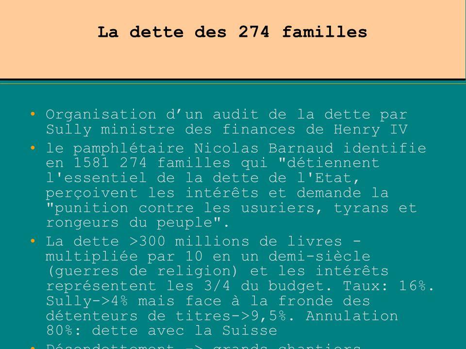 La dette des 274 familles Organisation dun audit de la dette par Sully ministre des finances de Henry IV le pamphlétaire Nicolas Barnaud identifie en
