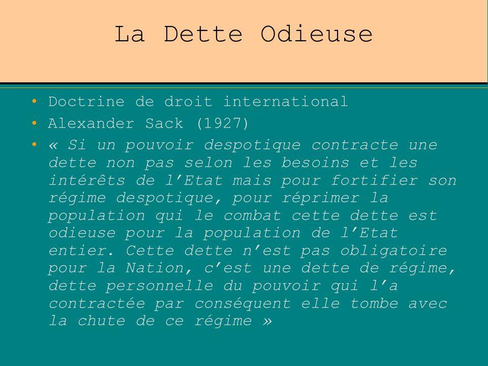 La Dette Odieuse Doctrine de droit international Alexander Sack (1927) « Si un pouvoir despotique contracte une dette non pas selon les besoins et les