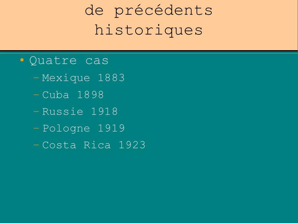 La traduction juridique de précédents historiques Quatre cas –Mexique 1883 –Cuba 1898 –Russie 1918 –Pologne 1919 –Costa Rica 1923
