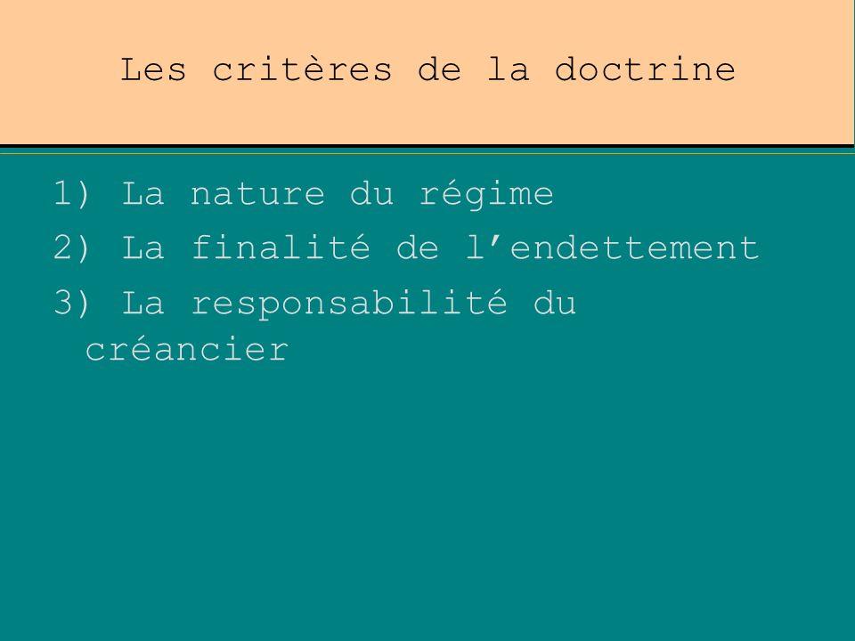 Les critères de la doctrine 1) La nature du régime 2) La finalité de lendettement 3) La responsabilité du créancier