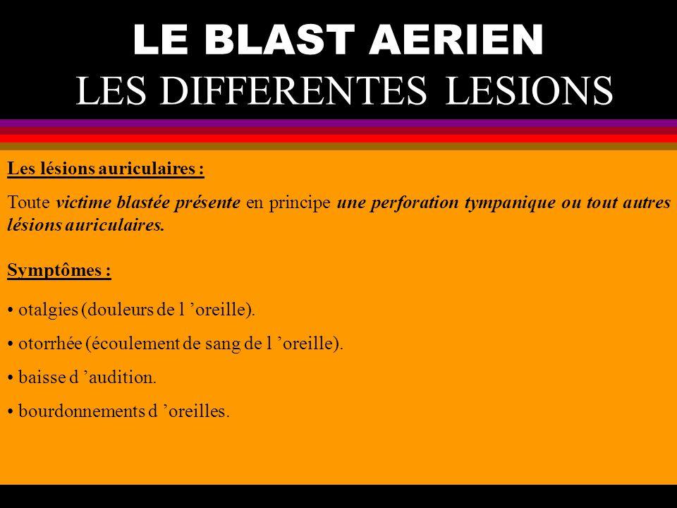LE BLAST AERIEN LES DIFFERENTES LESIONS Les lésions auriculaires : Toute victime blastée présente en principe une perforation tympanique ou tout autre