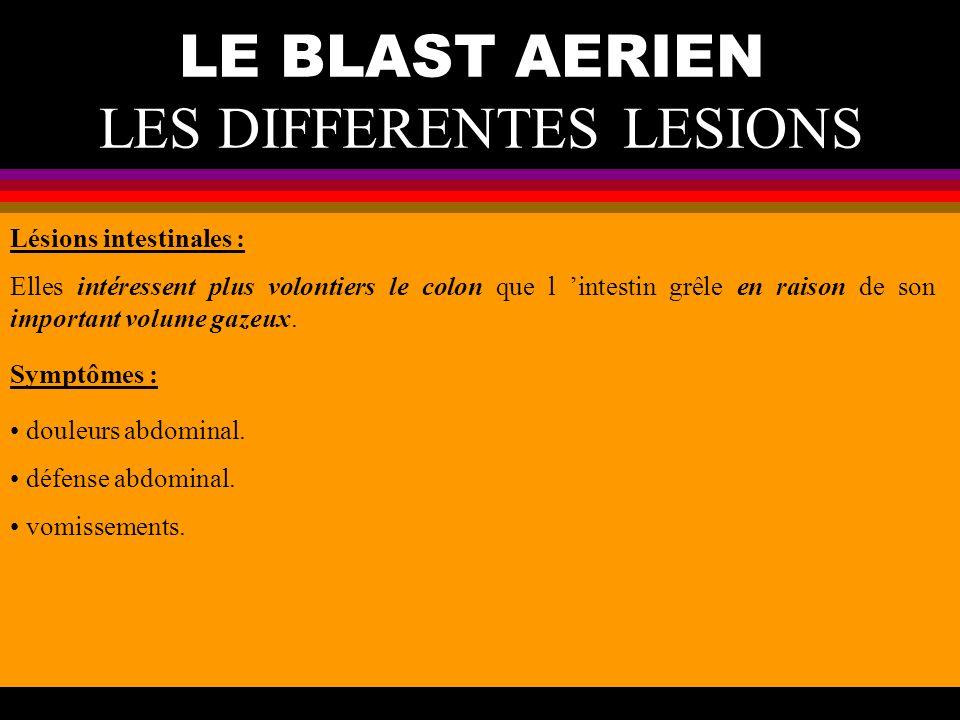 LE BLAST AERIEN LES DIFFERENTES LESIONS Lésions intestinales : Elles intéressent plus volontiers le colon que l intestin grêle en raison de son import