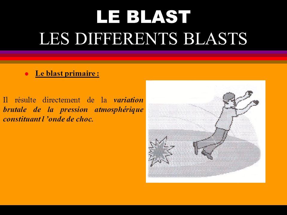 LE BLAST LES DIFFERENTS BLASTS l Le blast secondaire : Il est lie à la projection des objets présents dans l environnement, mis en mouvement par l onde de surpression (pierre, éclat de verre).