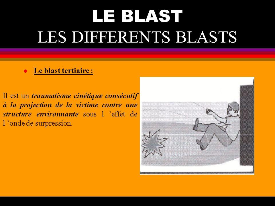 LE BLAST LES DIFFERENTS BLASTS l Le blast tertiaire : Il est un traumatisme cinétique consécutif à la projection de la victime contre une structure en