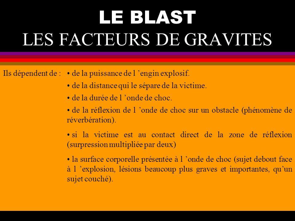 LE BLAST LES FACTEURS DE GRAVITES Ils dépendent de : de la puissance de l engin explosif. de la distance qui le sépare de la victime. de la durée de l
