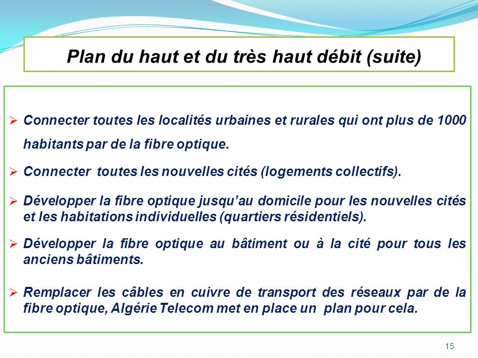 Plan du haut et du très haut débit (suite) Connecter toutes les localités urbaines et rurales qui ont plus de 1000 habitants par de la fibre optique.