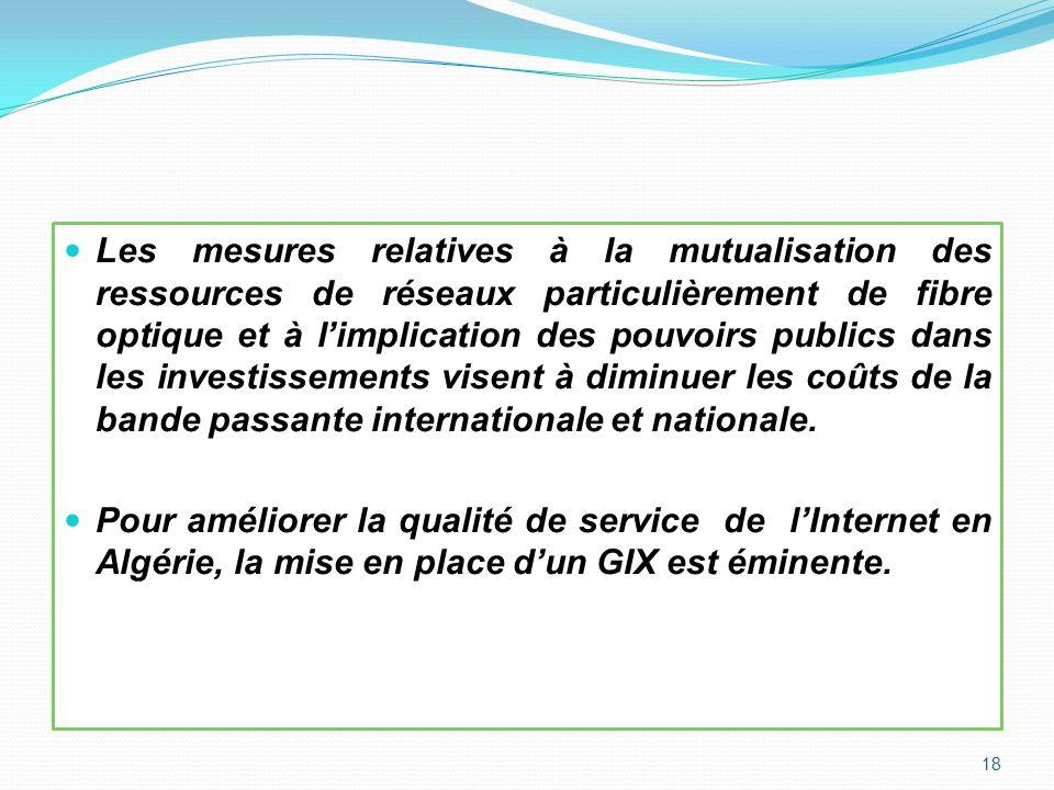 Les mesures relatives à la mutualisation des ressources de réseaux particulièrement de fibre optique et à limplication des pouvoirs publics dans les i