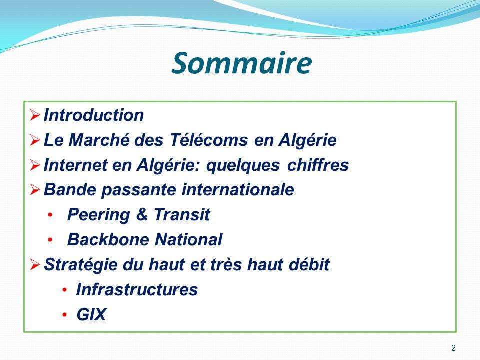 Sommaire Introduction Le Marché des Télécoms en Algérie Internet en Algérie: quelques chiffres Bande passante internationale Peering & Transit Backbon