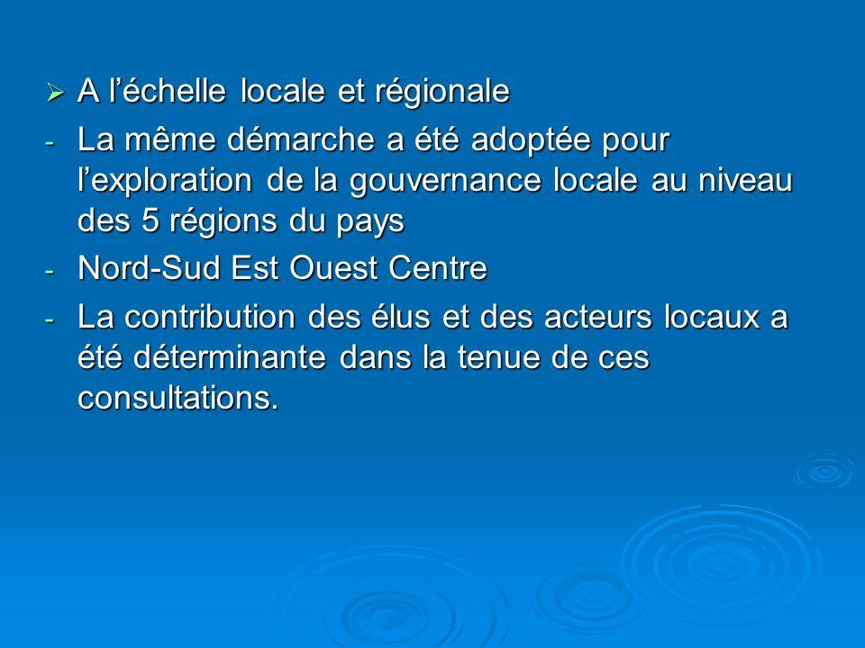 A léchelle locale et régionale A léchelle locale et régionale - La même démarche a été adoptée pour lexploration de la gouvernance locale au niveau des 5 régions du pays - Nord-Sud Est Ouest Centre - La contribution des élus et des acteurs locaux a été déterminante dans la tenue de ces consultations.
