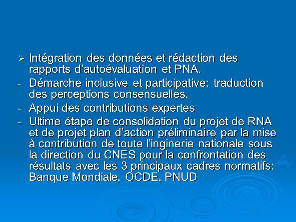 Intégration des données et rédaction des rapports dautoévaluation et PNA.