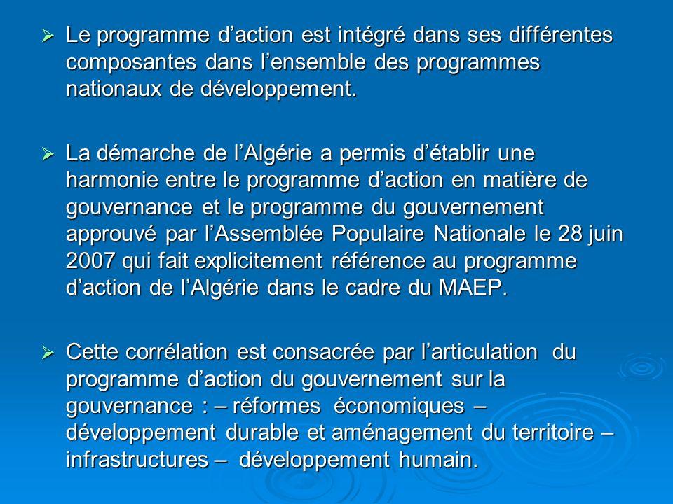 Le programme daction est intégré dans ses différentes composantes dans lensemble des programmes nationaux de développement.