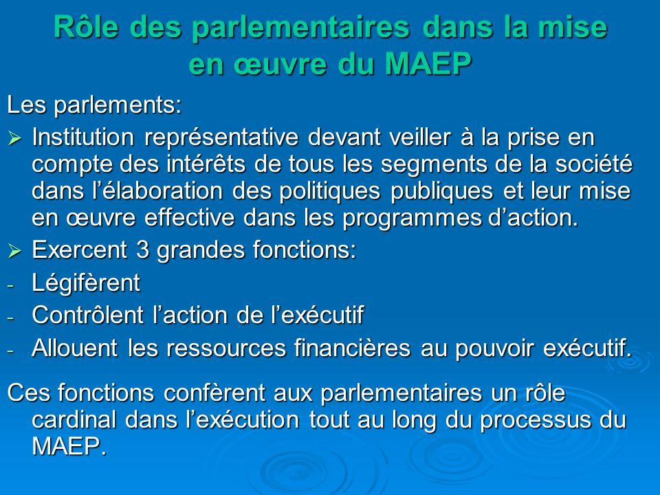 Rôle des parlementaires dans la mise en œuvre du MAEP Les parlements: Institution représentative devant veiller à la prise en compte des intérêts de tous les segments de la société dans lélaboration des politiques publiques et leur mise en œuvre effective dans les programmes daction.