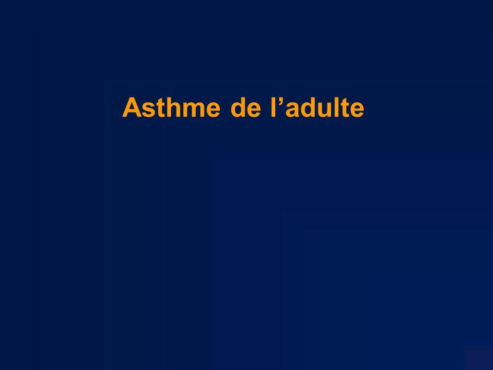 Asthme et contextes particuliers « Asthme à laspirine » Il sagit dune intolérance à laspirine et aux autres AINS, pas de nature immuno-allergique lié à une inhibition de la cyclo-oxygénase déviant le métabolisme de lacide arachidonique vers une production accrue de leucotriènes Fréquemment dans le cadre du syndrome de Widal caractérisé par la triade : –asthme, –polypose naso-sinusienne, –intolérance à laspirine Lasthme à l aspirine expose au risque dAAG, il doit être recherché comme tout facteur médicamenteux.