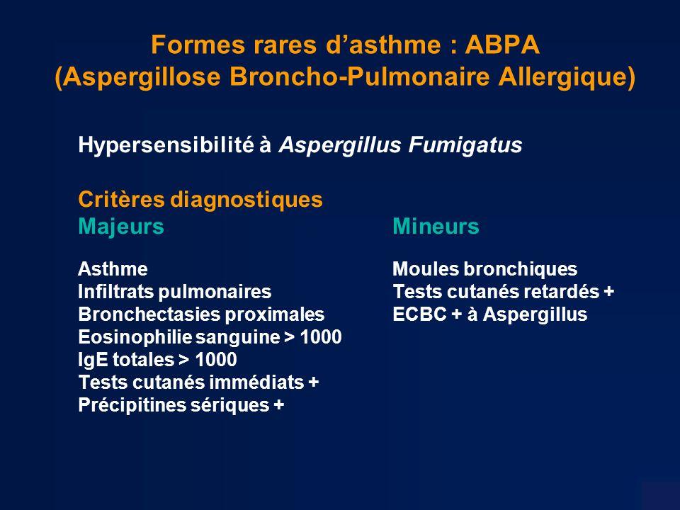 Formes rares dasthme : ABPA (Aspergillose Broncho-Pulmonaire Allergique) Hypersensibilité à Aspergillus Fumigatus Critères diagnostiques Majeurs Mineurs AsthmeMoules bronchiques Infiltrats pulmonaires Tests cutanés retardés + Bronchectasies proximalesECBC + à Aspergillus Eosinophilie sanguine > 1000 IgE totales > 1000 Tests cutanés immédiats + Précipitines sériques +