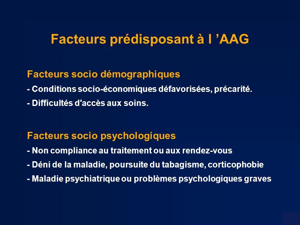Facteurs prédisposant à l AAG Facteurs socio démographiques - Conditions socio-économiques défavorisées, précarité.