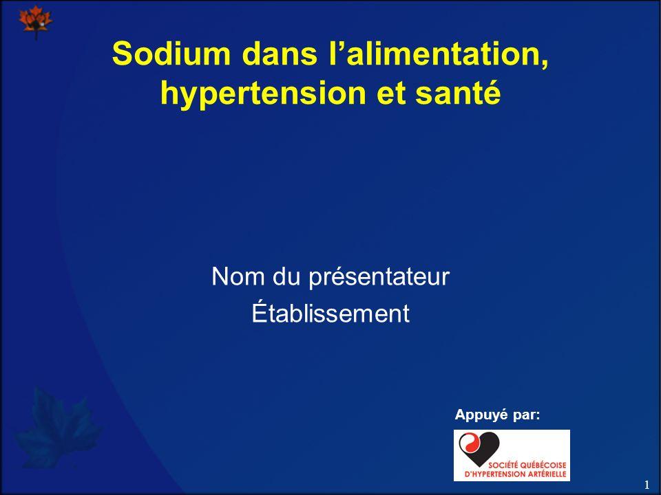 32 Résultats : régime et apport en sel NEJM 2001; 344:3-10 InterventionChangement de la PA moyenne vs témoin (systolique) Régime témoinRégime DASH 3600 mg/jour de sodium Niveau témoin- 6 mmHg 2400 mg/jour de sodium - 2 mmHg- 7 mmHg 1200 mg/jour de sodium - 7 mmHg- 9 mmHg