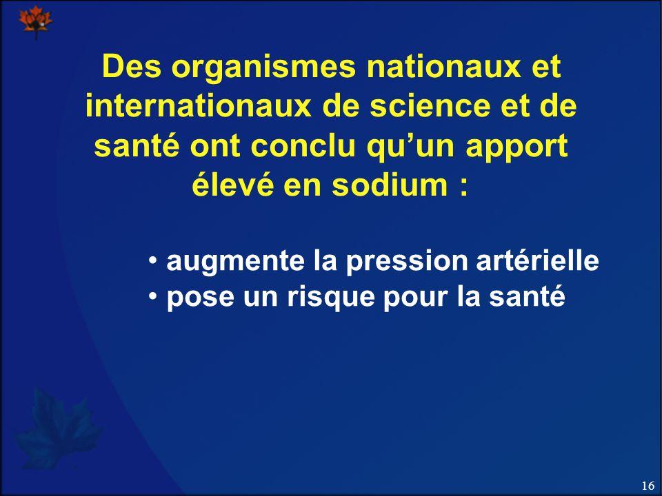 16 Des organismes nationaux et internationaux de science et de santé ont conclu quun apport élevé en sodium : augmente la pression artérielle pose un risque pour la santé