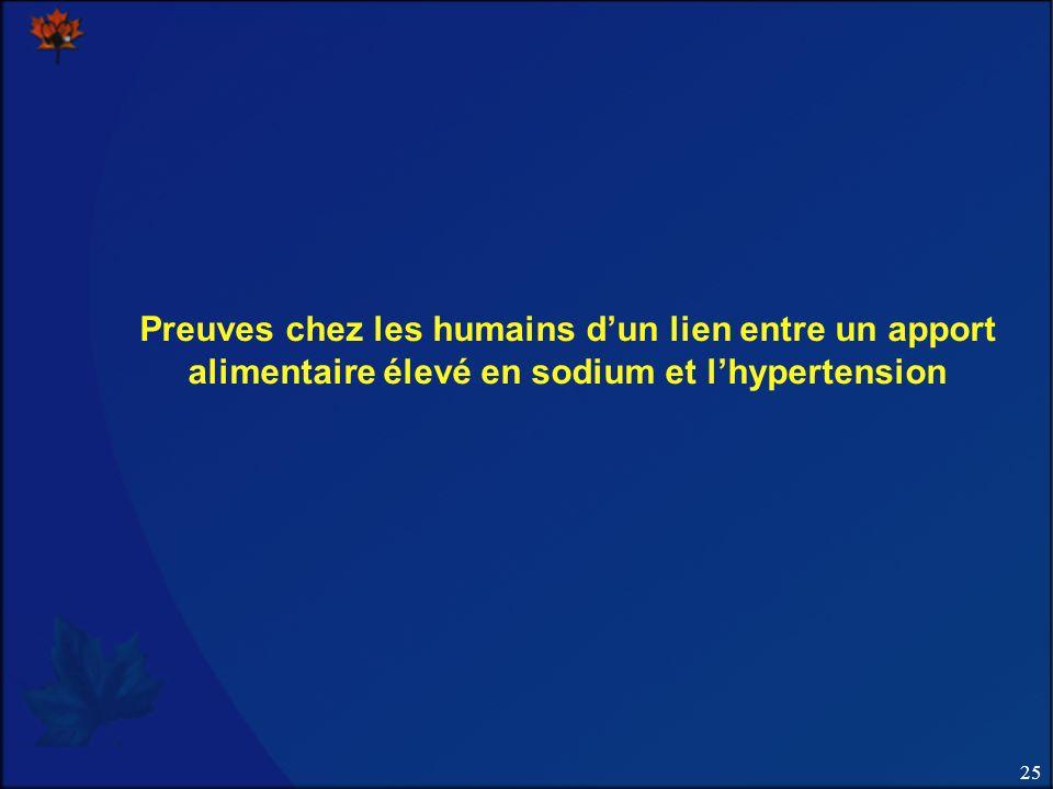 25 Preuves chez les humains dun lien entre un apport alimentaire élevé en sodium et lhypertension